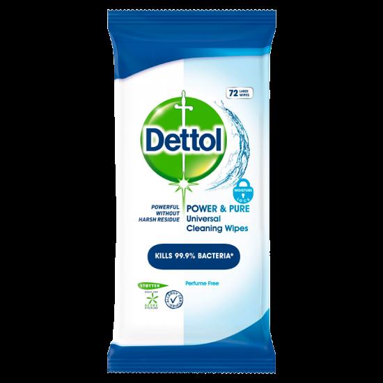 Dettol Power & Pure Desinficering Rengøringsservietter (72 stk)