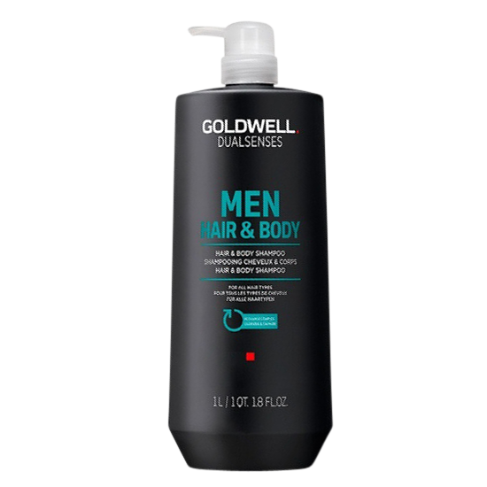 goldwell dualsenses for men hair and body shampoo 1000 ml.