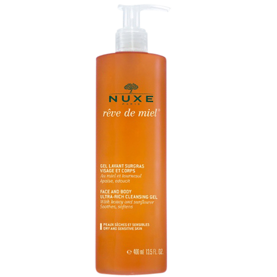 nuxe rêve de miel face and body cleansing gel 400 ml.